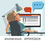 happy smiling user man... | Shutterstock .eps vector #695452624