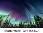 purple and green northern... | Shutterstock . vector #695456167