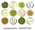 fresh  organic  raw food  vegan ... | Shutterstock .eps vector #695457331