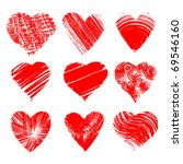 set of nine artistic hearts | Shutterstock .eps vector #69546160