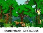 vector asian seamless tropical... | Shutterstock .eps vector #695463055