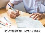 asian school students in... | Shutterstock . vector #695464561
