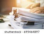 businessman hands working in... | Shutterstock . vector #695464897