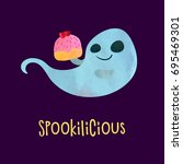 funny ghost with sweet cake.... | Shutterstock .eps vector #695469301