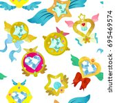 fancy magical brooches....   Shutterstock .eps vector #695469574