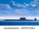 nuclear submarine. warships. | Shutterstock . vector #695471461
