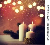 christmas candles and ornaments ...   Shutterstock . vector #695481121