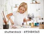 creative beautiful female child ... | Shutterstock . vector #695484565