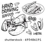 hand drawing seafood lobster... | Shutterstock .eps vector #695486191