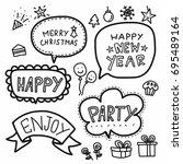 merry christmas word bubble... | Shutterstock .eps vector #695489164