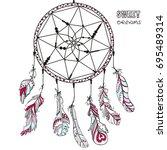 dreamcatcher. tattoo art ... | Shutterstock .eps vector #695489314