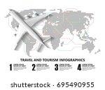 travel infographics  landmark...   Shutterstock .eps vector #695490955