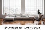 modern bright living room  with ... | Shutterstock . vector #695491435