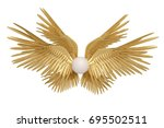Six Gold Wings On White...