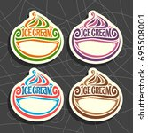 vector set of ice cream labels  ... | Shutterstock .eps vector #695508001