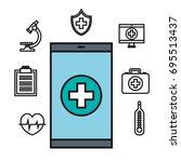smartphone medical technology... | Shutterstock .eps vector #695513437