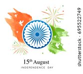 august 15th  indian... | Shutterstock .eps vector #695522749