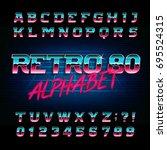 80's retro alphabet font.... | Shutterstock .eps vector #695524315