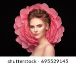 beautiful woman on the... | Shutterstock . vector #695529145