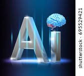 ai letter with digital brain  ... | Shutterstock . vector #695529421