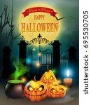 happy halloween night... | Shutterstock .eps vector #695530705