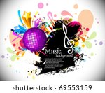 musical theme background with... | Shutterstock .eps vector #69553159