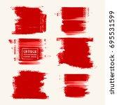 vector set of red brush strokes.... | Shutterstock .eps vector #695531599