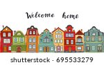 row of multicolored doodle... | Shutterstock .eps vector #695533279