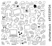 big set of hand drawn doodle... | Shutterstock .eps vector #695535934