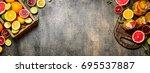 fresh juice from citrus fruits. ... | Shutterstock . vector #695537887