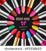 realistic 3d color lipstick... | Shutterstock .eps vector #695538655