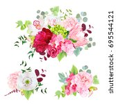 summer mixed bouquets of peony  ... | Shutterstock .eps vector #695544121