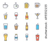 drink and beverages flat line... | Shutterstock .eps vector #695552155