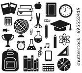 vector set of school supplies ... | Shutterstock .eps vector #695552419