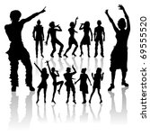 vector dancing and singing... | Shutterstock .eps vector #69555520