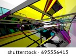 abstract architectural interior ... | Shutterstock . vector #695556415