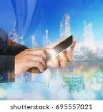 phone hand   phone handset ... | Shutterstock . vector #695557021