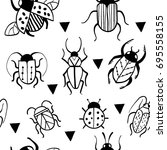 seamless pattern with hand...   Shutterstock .eps vector #695558155