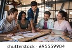 beautiful young business people ... | Shutterstock . vector #695559904