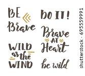 brave and wild lettering | Shutterstock .eps vector #695559991
