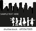 Isolated Silhouette Of Childre...
