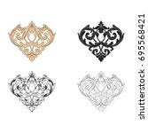baroque vector set of vintage... | Shutterstock .eps vector #695568421