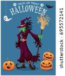 vintage halloween poster design ... | Shutterstock .eps vector #695572141