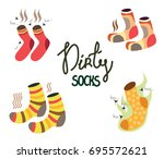 stinky smelly socks. set of... | Shutterstock .eps vector #695572621