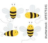 set of cute bees. vector... | Shutterstock .eps vector #695575141
