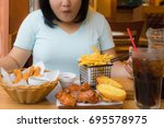 asian woman happy with big meal ... | Shutterstock . vector #695578975