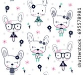 seamless pattern with bunny...   Shutterstock .eps vector #695578981