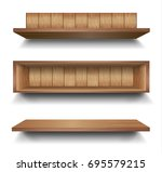 3d vector empty wooden wood... | Shutterstock .eps vector #695579215