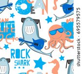 Cute Pattern With Rock Shark ...