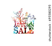autumn sale banner colorful... | Shutterstock .eps vector #695580295